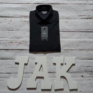 🆕️ VAN HEUSEN MENS BLACK FITTED DRESS SHIRT